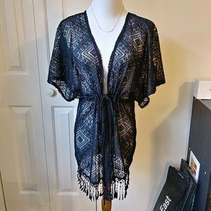 Lacey black cover up kimono with fringe